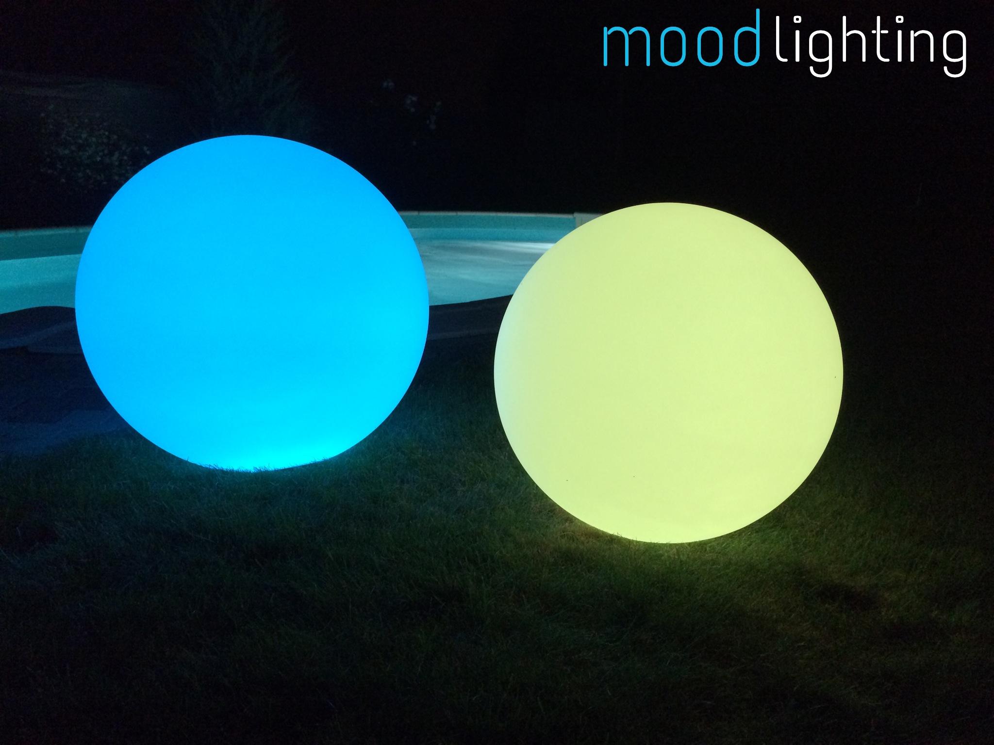 LED Leuchtkugel blau & geld